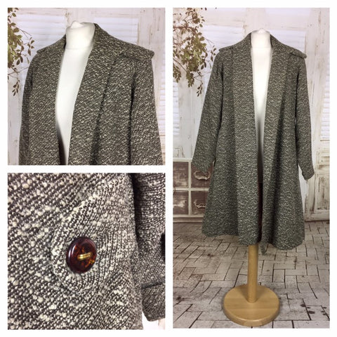 Original 1950s 50s Vintage Grey Boucle Wool Swing Coat