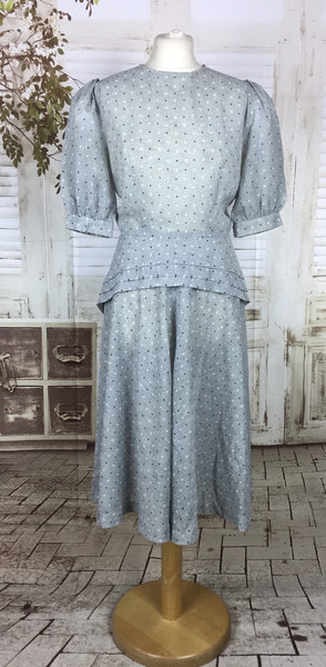 Original 1940s 40s Vintage Grey Diamond Print Dress With Puff Sleeves And Double Peplum