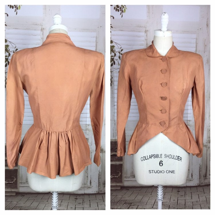 LAYAWAY PAYMENT 1 of 2 - RESERVED FOR NATASHA - Original 1940s 40s Peach Taffeta Jacket With Pleated Peplum Back
