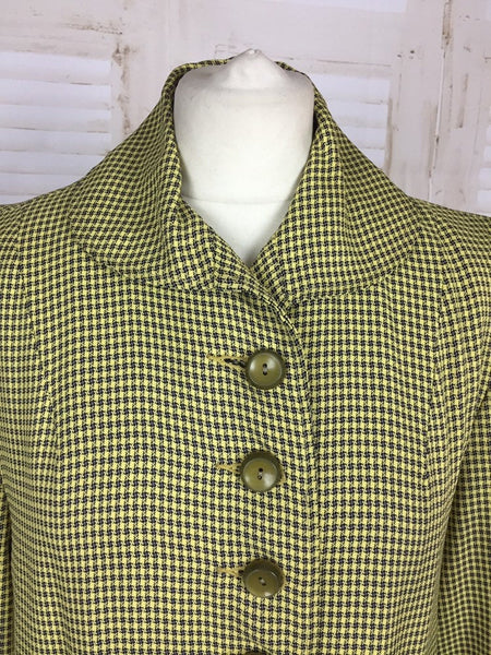 Original 1940s 40s Vintage Mustard Yellow Grey Check Swing Coat