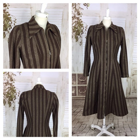 Original 1940s 40s Vintage Brown Striped Wool Coat With Zipper Front