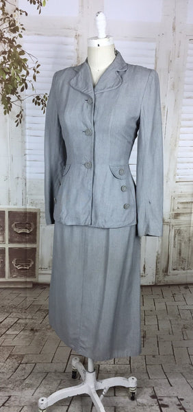 Original 1940s 40s Vintage Light Blue Grey Cotton Skirt With Button Decoration