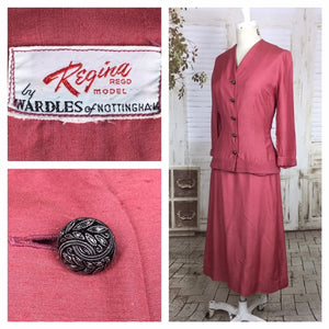 Original 1950s 50s Vintage Pink Silk Skirt Suit By Regina