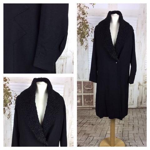 Original Late 1920s 20s Early 1930s 30s Art Deco Vintage Black Wool Coat With Faux Astrakhan Collar And Geometric Details