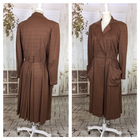 Original 1940s 40s Vintage Brown Gabardine Faux Suede Princess Coat