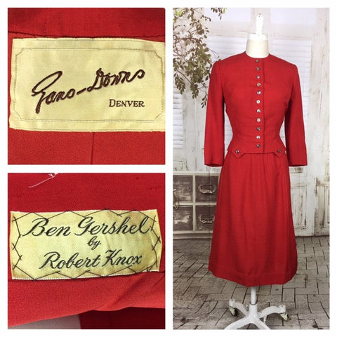 LAYAWAY PAYMENT 1 OF 2 - RESERVED FOR MARS - Original 1940s 40s Vintage Red Shot Silk Arrow Skirt Suit With Amazing Buttons