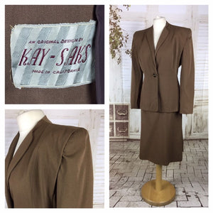 Original 1940s 40s Vintage Milk Chocolate Brown Gabardine Skirt Suit By Kay Saks
