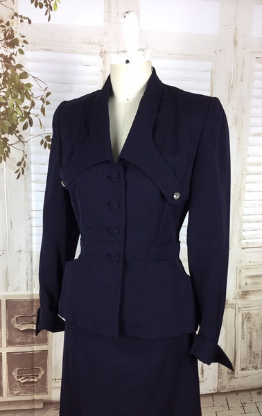 Original 1940s 40s Vintage Navy Blue Gabardine Gab Skirt Suit With Diamanté Studs And Unusual Collar And Button Adorned Bustle Back