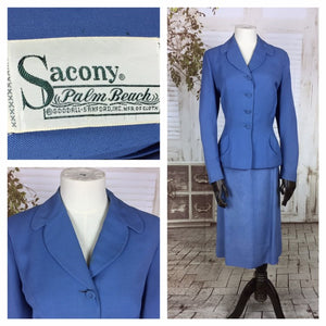Original Late 1940s 40s Vintage Sky Blue Linen Summer Skirt Suit By Sacony