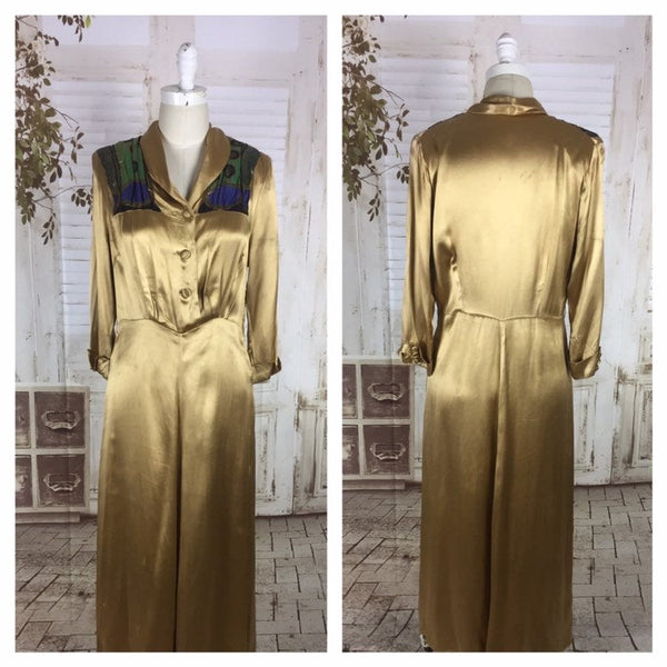 Original 1940s 40s Vintage Gold Satin Evening Dress With Peacock Lamé Panels