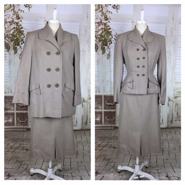 Original 1940s 40s Pink Grey Check Wool Vintage Double Breasted 3 Three Piece Ladies Skirt Suit And Swing Coat