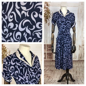 Original 1940s 40s Vintage Crepe Novelty Print Navy Blue And Lilac Crepe Day Dress