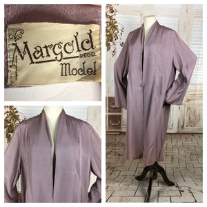 Original 1950s 50s Volup Vintage Lilac Faille Clutch Coat By Margold Model