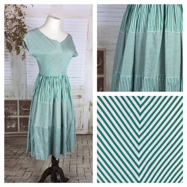 Original 1950s 50s Vintage Emerald Green And White Stripe Summer Dress