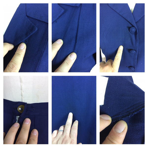 Original 1940s 40s Vintage Navy Blue Linen Summer Skirt Suit By Betty Rose With Back Belt