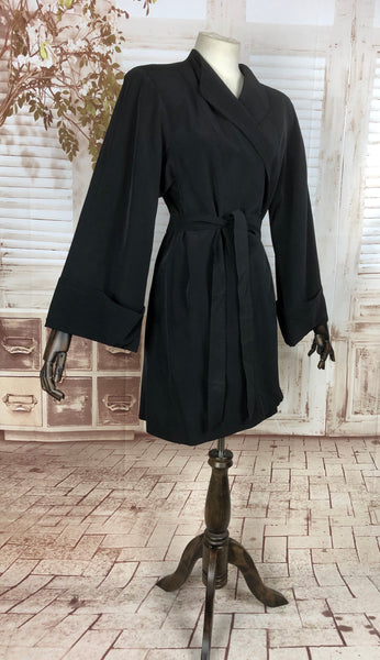 Incredible Original 1940s 40s Vintage Black Faille Belted Wrap Coat With Huge Fluted Sleeves