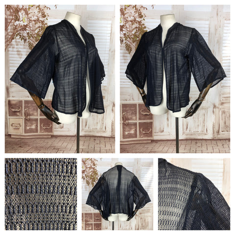 Original Vintage 1930s 30s Navy Blue Lace Knit Top Jacket