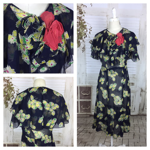 Original 1930s Navy Blue Chiffon Dress With Yellow Flowers And Cape Back