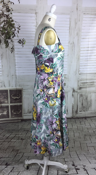 Original 1950s Vintage Abstract Flower Print Summer Dress