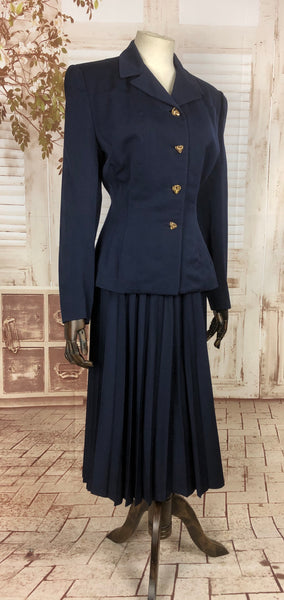 LAYAWAY PAYMENT 2 OF 2 - RESERVED FOR GIULIA - Original 1940s 40s Vintage Navy Blue Suit With Thespian Venetian Mask Buttons By Gilbert Original