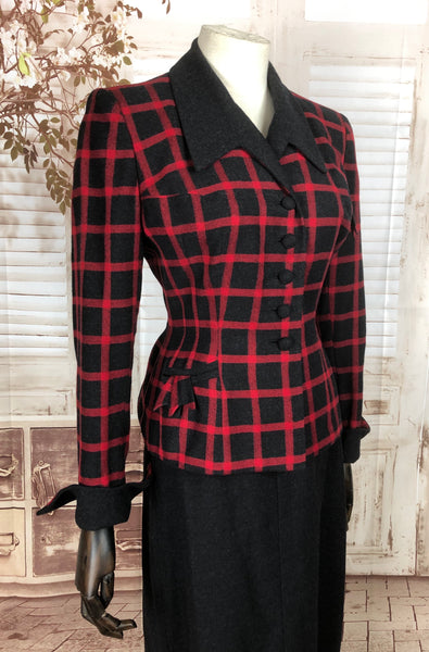 Original 1940s 40s Vintage Red And Grey Plaid Skirt Suit By Barbara Scott