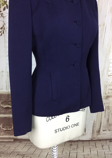 Original 1940s 40s Vintage Navy Blue Gabardine Gab Jacket With Slit Pocket Decoration
