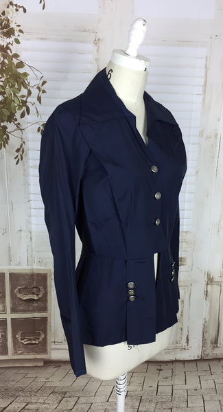 Original 1940s 40s Vintage Navy Blue Taffeta Riding Jacket With Peplum And Mother Of Pearl Buttons