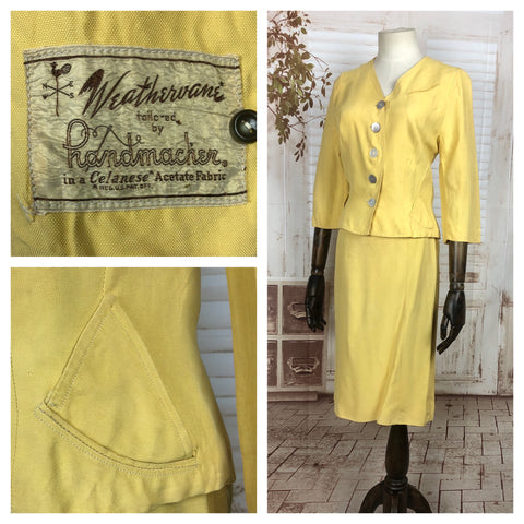 Original 1940s 40s Vintage Mustard Yellow Summer Skirt Suit By Handmacher Weathervane