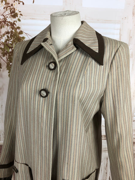 Original 1940s 40s Vintage Cream And Brown Striped Sportswear Coat