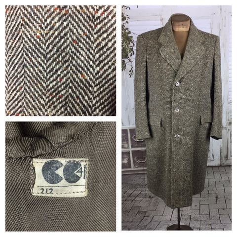 Original 1940 Mens Herringbone And Fleck Vintage CC41 Utility Wool Coat