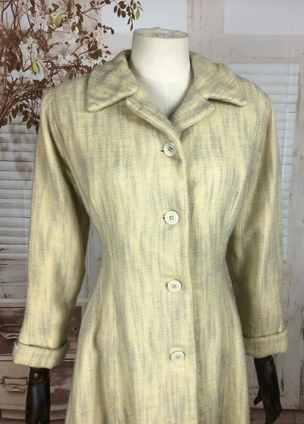 Original 1950s 50s Vintage White And Grey Wool Tweed Coat
