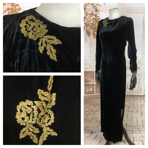 Original Late 1930s 30s Early 1940s 40s Vintage Silk Velvet Evening Gown With Gold Soutache Appliqué