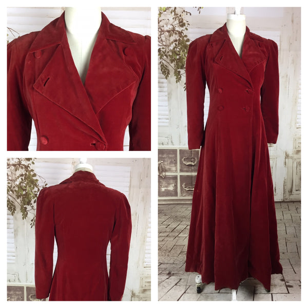 Original 1930s 30s Red Velvet Vintage Double Breasted Coat
