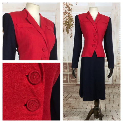 Original 1940s 40s Vintage Colour Block Navy And Red Skirt Suit