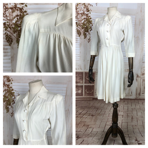 Original Vintage Late 1930s 30s Early 1940s 40s White Crepe Summer Dress