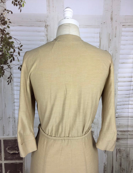 Original 1950s 50s Sand Beige Beaded Vintage Wool Dress Mountain Home