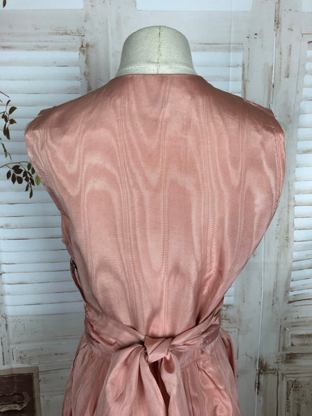 Original 1940s 40s Vintage Pink Taffeta Evening Dress With Double Elevens Dinner Plate Luxury Rationing Labels