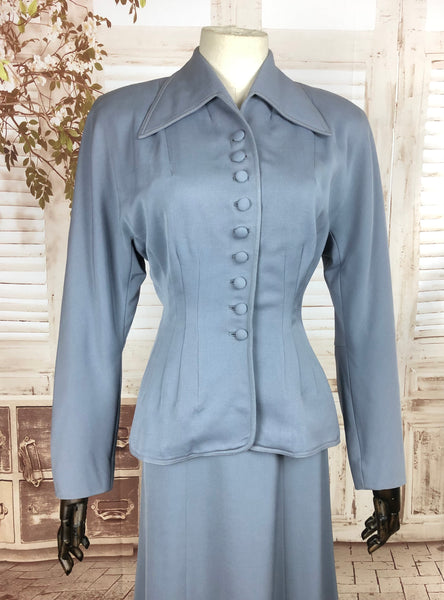 LAYAWAY PAYMENT 2 OF 2 - RESERVED FOR SENDI - Original 1940s 40s Periwinkle Blue Gabardine Skirt Suit By Swansdown