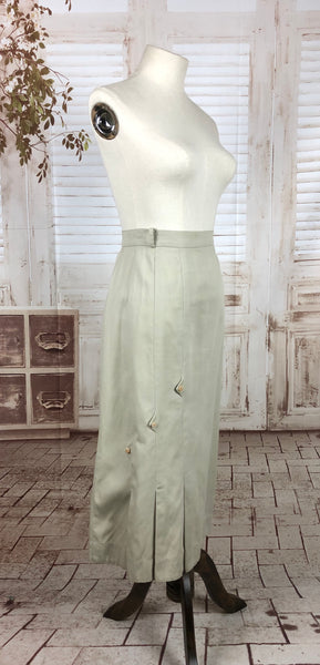 Original 1940s 40s Vintage Pale Green Grey Skirt With Arrow Point Decoration