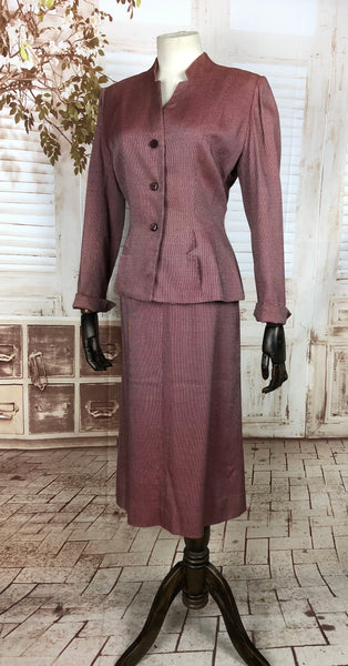 RESERVED FOR SENDI - PLEASE DO NOT PURCHASE - Original 1940s 40s Vintage Burgundy Wine Micro Check Suit
