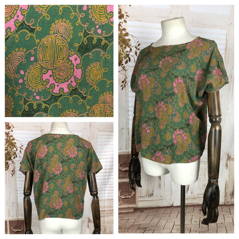 Original 1950s 50s Volup Vintage Green Crepe Blouse With Dolman Sleeve And Orientalists Pattern
