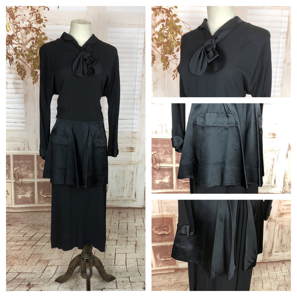 Original 1940s 40s Vintage Black Crepe And Satin Day Dress With Huge Peplum