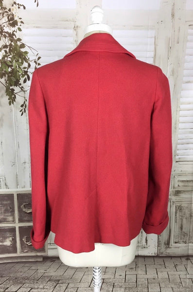 Original 1950s 50s Red Double Breasted Swing Coat With Glass Buttons By Nemco