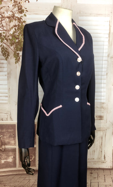 Original 1940s 40s Vintage Navy Blue Cotton Summer Suit By Sacony Palm Beach