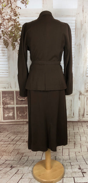Original 1940s 40s Vintage Brown Gabardine Belted Skirt Suit
