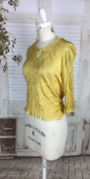 Original 1920s Gold Mustard Yellow Silk Vintage Top With Soutache Embellishment Volup