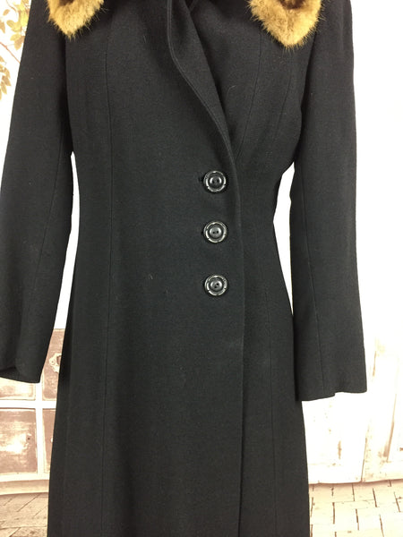 Original 1930s 30s Vintage Black Wool Coat With A Blond Fur Collar And Asymmetric Buttons By Joseph Horne Co