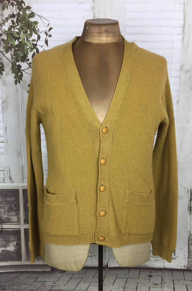 Original 1950s 50s Vintage Mens Mustard Yellow Cardigan