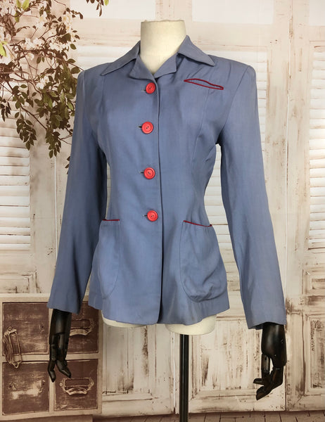 Original 1940s 40s Vintage Periwinkle Lilac Gabardine Blazer With Red Accents By I Magnin