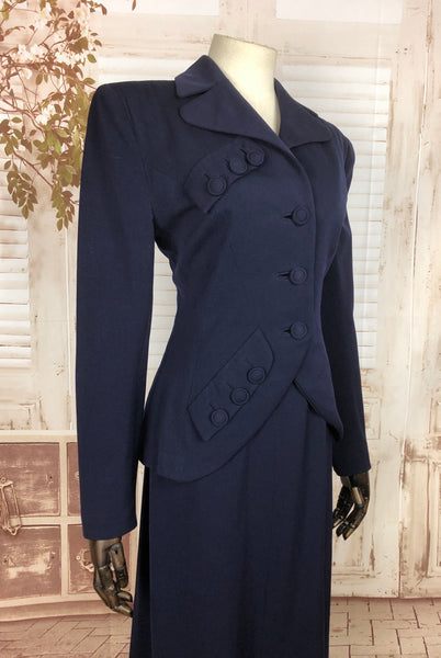 Original 1940s 40s Vintage Navy Blue Gabardine Skirt Suit With Button Embellishments By Crownley